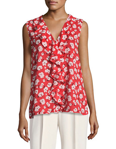 Karl Lagerfeld Paris Ruffle Front Shell Top-RED MULTI-Small