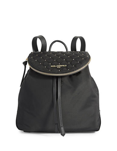 Karl Lagerfeld Paris Cara Nylon Backpack-BLACK-One Size