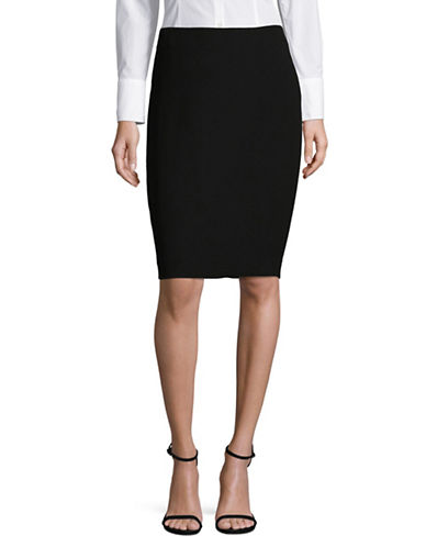 Karl Lagerfeld Paris Pebbled Crepe Flared Skirt-BLACK-12