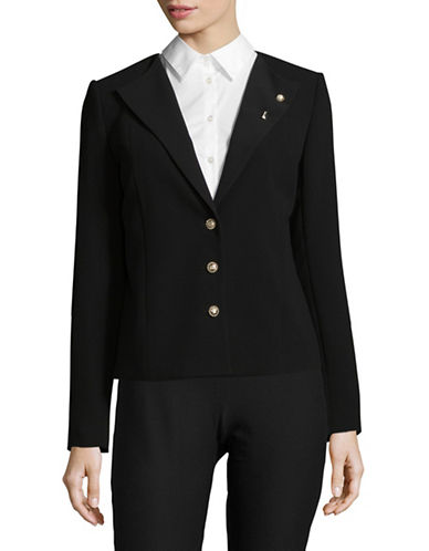 Karl Lagerfeld Paris Pebble Crepe Jacket-BLACK-4