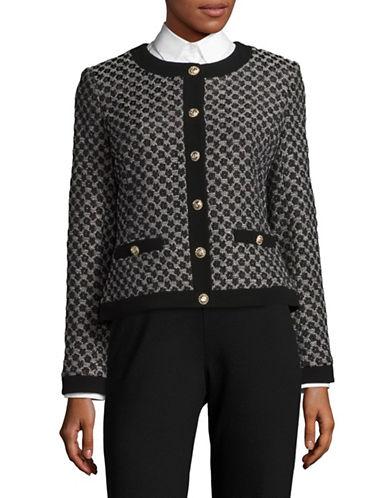 Karl Lagerfeld Paris Petal Jacquard Blazer-BLACK MULTI-4