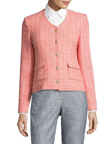 Karl Lagerfeld Paris Tweed Flap Pocket Jacket-MELON-4