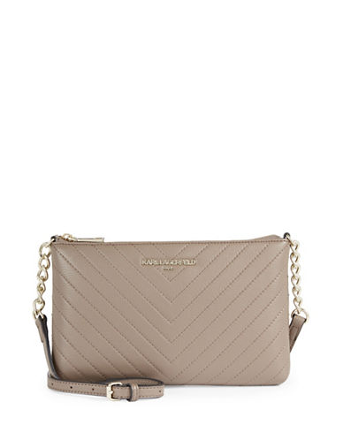Karl Lagerfeld Paris Charlotte Leather Crossbody Bag-BEIGE-One Size