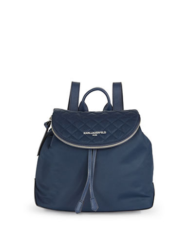 Karl Lagerfeld Paris Cara Nylon Backpack-BLUE-One Size