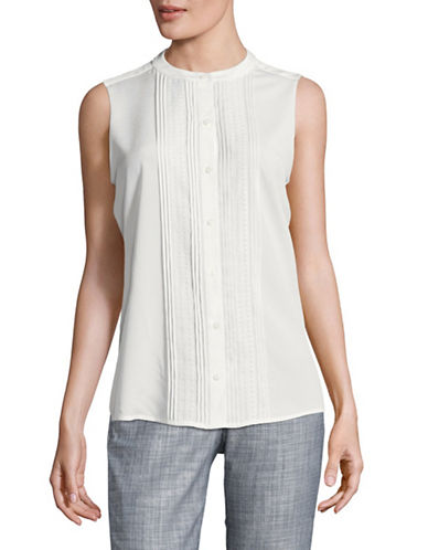 Karl Lagerfeld Paris Sleeveless Lace Insert Top-SOFT WHITE-Large