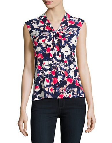 Karl Lagerfeld Paris Printed Sleeveless Tie-Neck Top-MARINE MULTI-Small