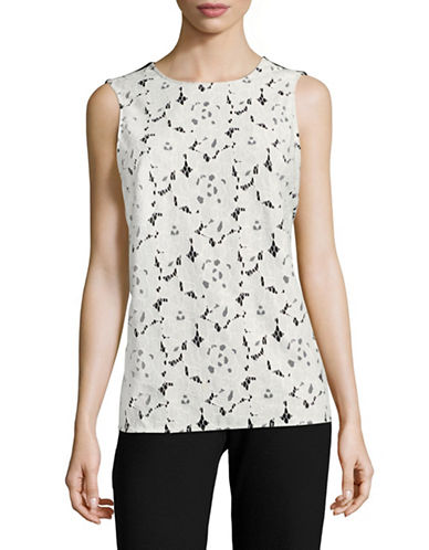 Karl Lagerfeld Paris Floral Lace Combo Shell Top-BLACK/SOFT WHITE-Large
