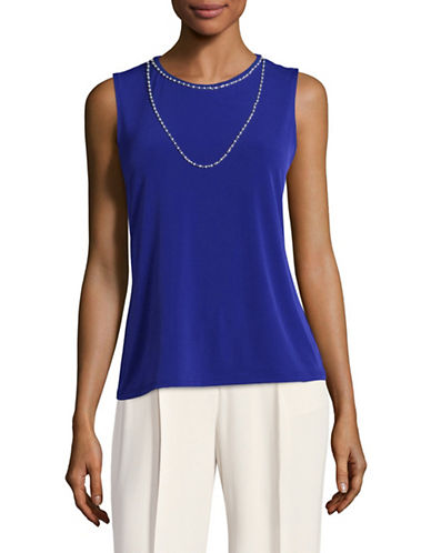 Karl Lagerfeld Paris Sleeveless Necklace Top-COBALT-Small