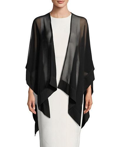 Karl Lagerfeld Paris Sheer Bordered Capelet-BLACK-S/M