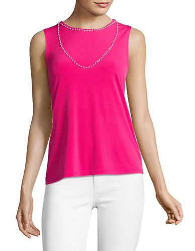 Karl Lagerfeld Paris Sleeveless Necklace Top-HIBISCUS-X-Large