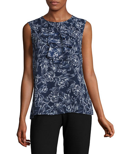 Karl Lagerfeld Paris Printed Sleeveless Ruffle Blouse-MARINE/WHITE-Small