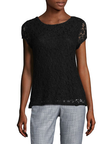 Karl Lagerfeld Paris Lace T-Shirt-BLACK-Small
