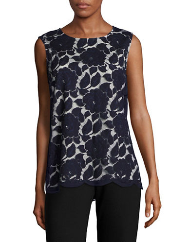 Karl Lagerfeld Paris Sleeveless Lace Top-MARINE-Small
