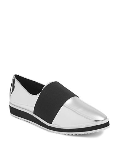 Karl Lagerfeld Paris Kristi Suede Slip-On Sneakers-SILVER-5.5