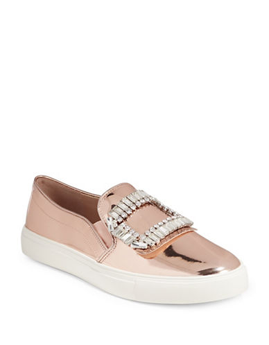 Karl Lagerfeld Paris Womens Ermine3 Jewelled Metallic Sneakers-PINK-9.5