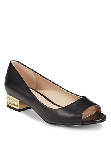 Karl Lagerfeld Paris Patent Leather Peep-Toe Shoes-BLACK-8.5