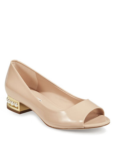 Karl Lagerfeld Paris Patent Leather Peep-Toe Shoes-BEIGE-5.5