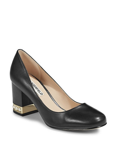 Karl Lagerfeld Paris Faux-Pearl Block Heel Pumps-BLACK-6