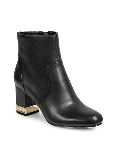 Karl Lagerfeld Paris Sadie Bead-Heel Leather Boots-BLACK-5.5