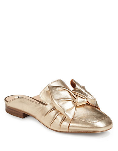 Karl Lagerfeld Paris Metallic Leather Bow Mules-GOLD-10