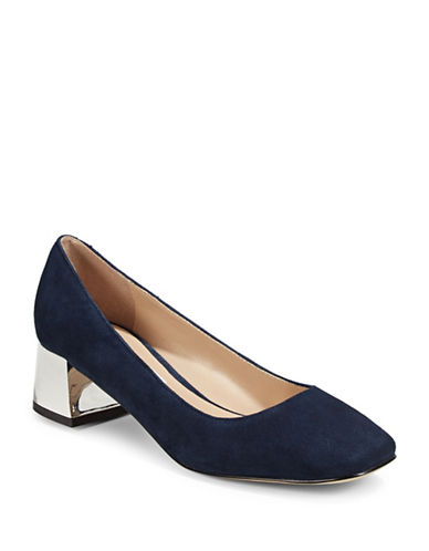 Karl Lagerfeld Paris Charee8 Metallic-Block Suede Heels-BLUE-5