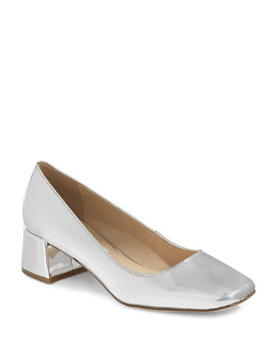 Karl Lagerfeld Paris Charee8 Metallic Block Heels-SILVER-8.5