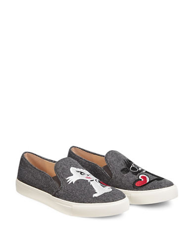 Karl Lagerfeld Paris Erin2 Flannel Cat Sneakers-GREY-5