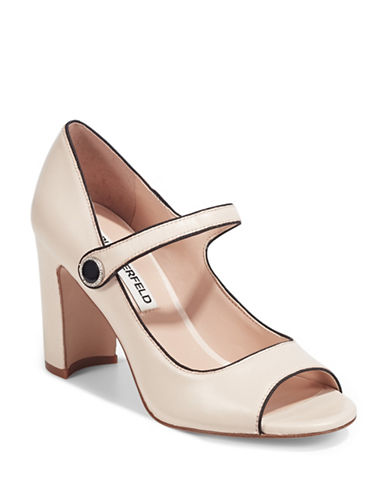 Karl Lagerfeld Paris Peep Toe Mary-Jane Pumps-IVORY-5.5