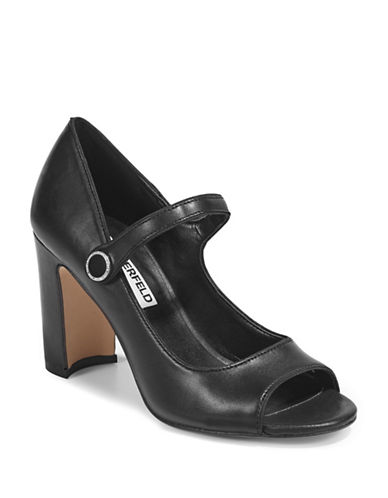 Karl Lagerfeld Paris Peep Toe Mary-Jane Pumps-BLACK-5.5