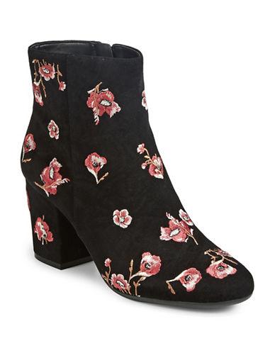 Karl Lagerfeld Paris Floral Suede Booties-BLACK FLORAL-10
