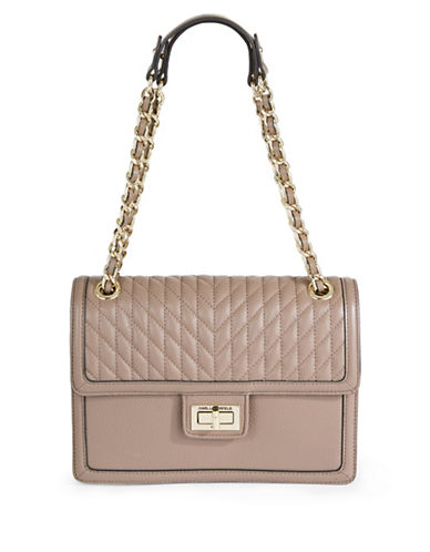 Karl Lagerfeld Paris Agyness Leather Shoulder Bag-BEIGE-One Size