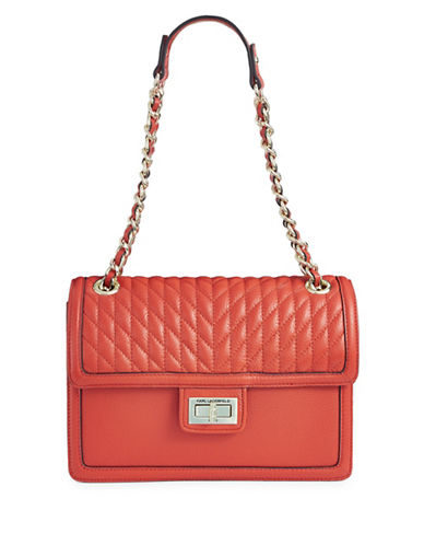 Karl Lagerfeld Paris Agyness Leather Shoulder Bag-ORANGE-One Size