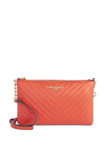 Karl Lagerfeld Paris Charlotte Leather Crossbody Bag-ORANGE-One Size