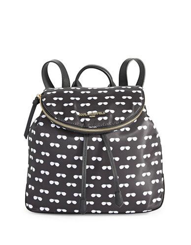 Karl Lagerfeld Paris Cara Nylon Backpack-BLACK/WHITE-One Size
