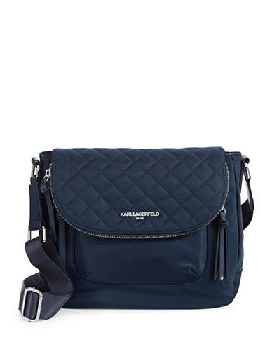 Karl Lagerfeld Paris Cara Studded Messenger Bag-BLUE-One Size