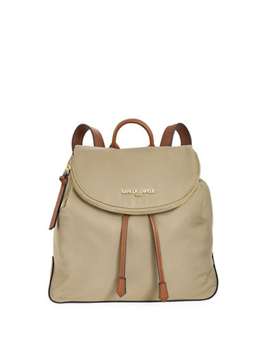 Karl Lagerfeld Paris Cara Nylon Backpack-BEIGE-One Size