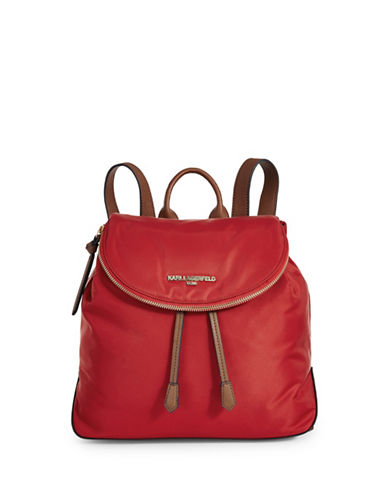 Karl Lagerfeld Paris Cara Nylon Backpack-RED-One Size