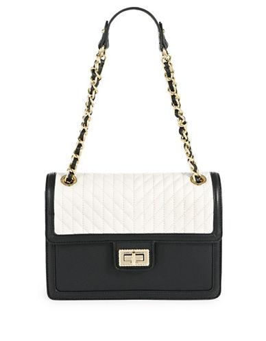 Karl Lagerfeld Paris Agyness Leather Shoulder Bag-BLACK-One Size