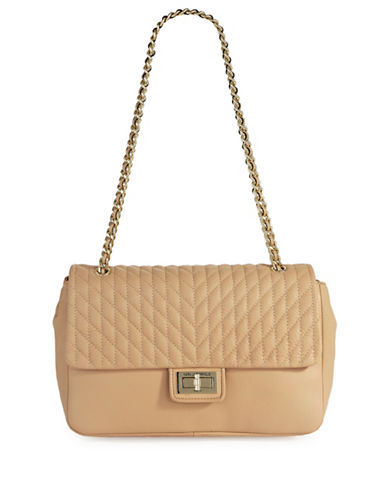 Karl Lagerfeld Paris Agyness Leather Shoulder Bag-NUDE-One Size