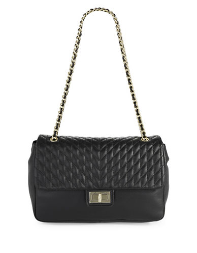 Karl Lagerfeld Paris Agyness Leather Shoulder Bag-BLACK-One Size