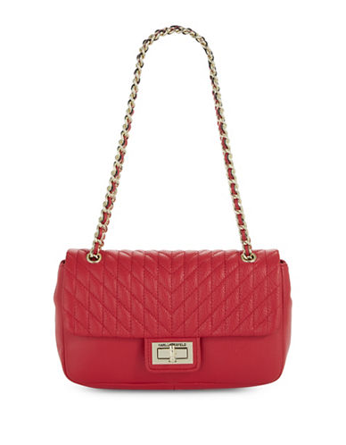 Karl Lagerfeld Paris Agyness Leather Handbag-RED-One Size
