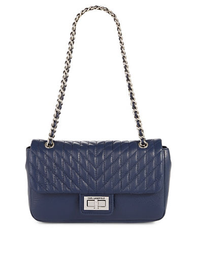 Karl Lagerfeld Paris Agyness Leather Handbag-BLUE-One Size