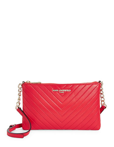 Karl Lagerfeld Paris Charlotte Leather Crossbody Bag-RED-One Size