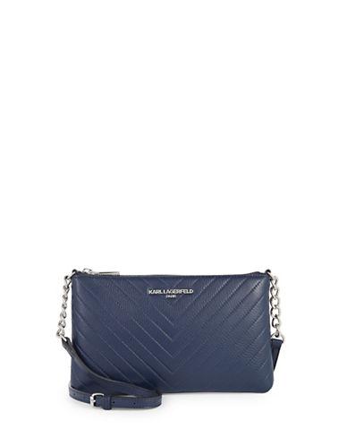Karl Lagerfeld Paris Charlotte Leather Crossbody Bag-BLUE-One Size