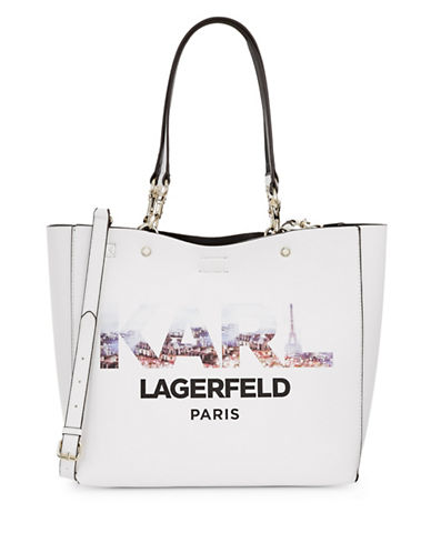 Karl Lagerfeld Paris Adele Graphic Tote Bag-WHITE-One Size
