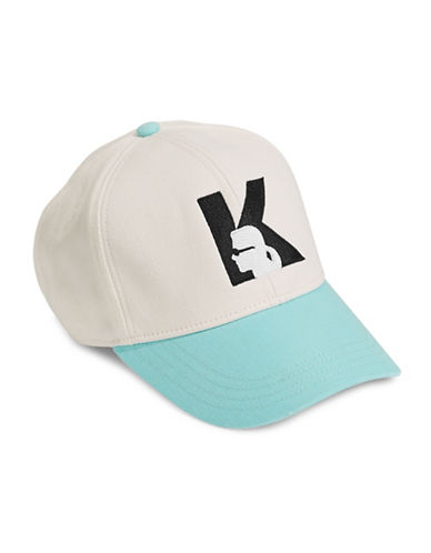 Karl Lagerfeld Paris Silhouette Snap-Back Cap-AQUA-One Size