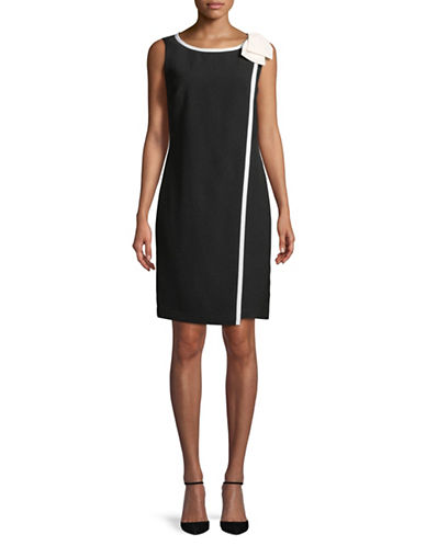 Karl Lagerfeld Paris Sleeveless Bow Draped Sheath Dress-WHITE/BLACK-10