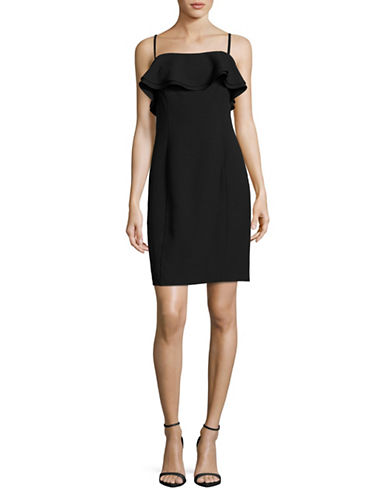 Karl Lagerfeld Paris Ruffle Neckline Crepe Sheath Dress-BLACK-14