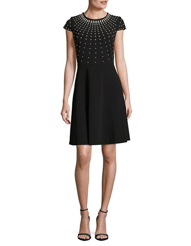 Karl Lagerfeld Paris Embellished Fit-And-Flare Dress-BLACK-4