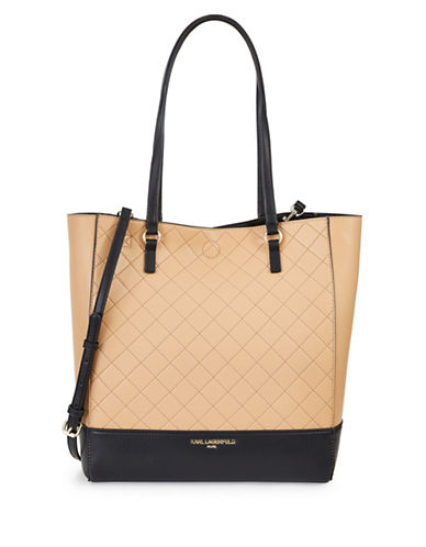 Karl Lagerfeld Paris Fabienne Reversible Unlined Tote Bag-NUDE/BLACK-One Size 89110741_NUDE/BLACK_One Size